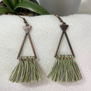NEW Brass Green Fringe Tassel Indian Drop Earrings